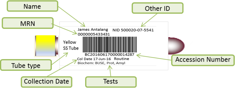 Lab Bar Code Label