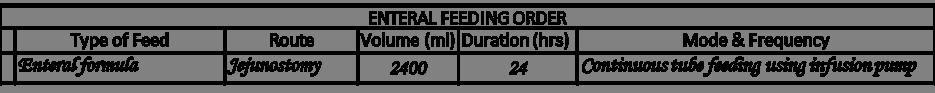 Enteral feed order